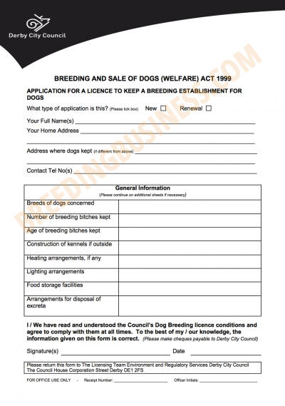 Dog Breeding Licence in England, Scotland and Wales