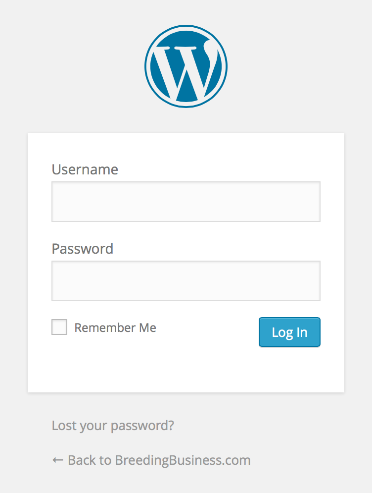 WordPress Admin Panel Login