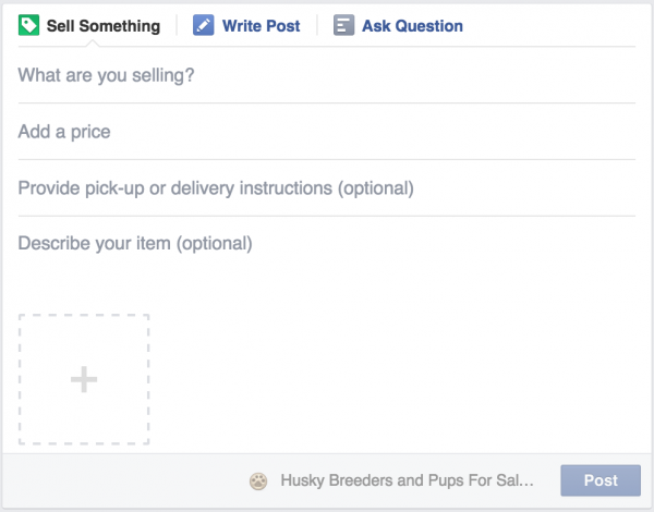 "Facebook now allows you to ""Sell something"""