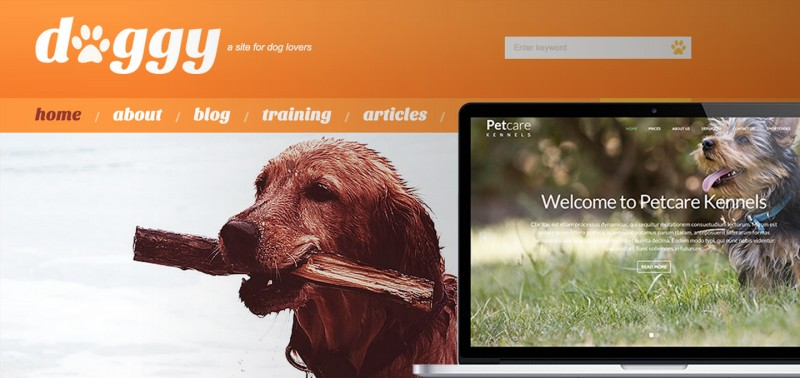 list of premium and free WordPress themes for dog businesses