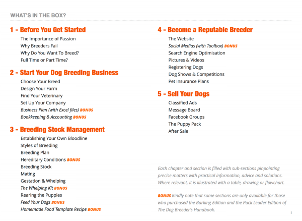 The Dog Breeder's Handbook: Table of Contents (Chapters & Sections)