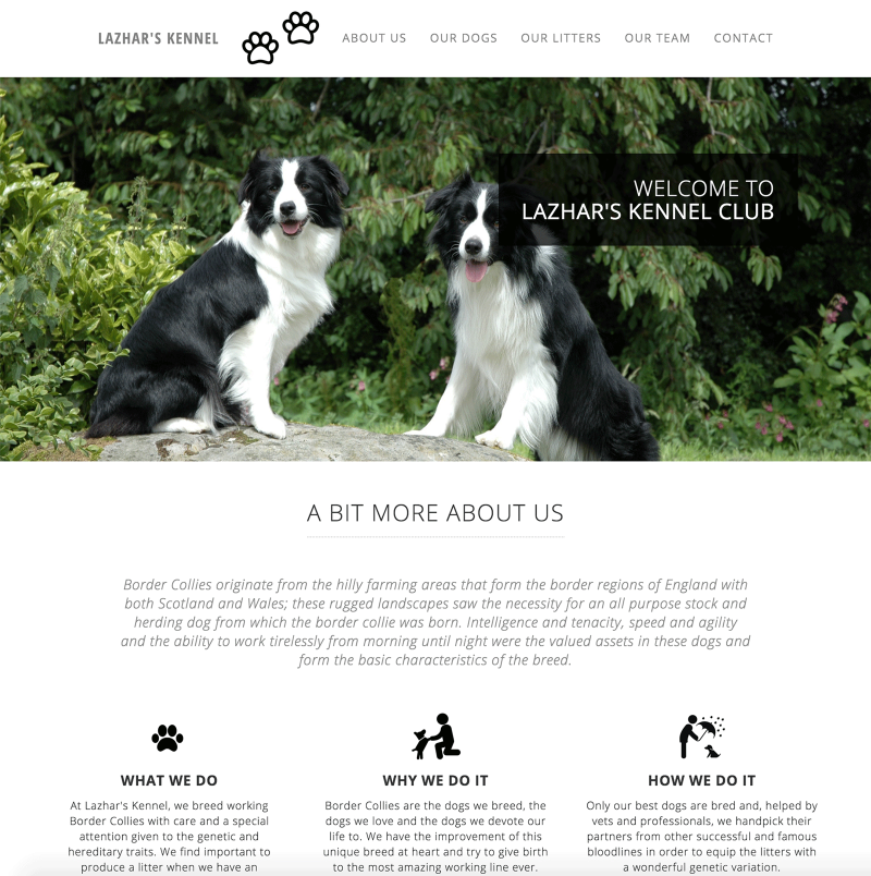 KENNEL WEBSITE TEMPLATE