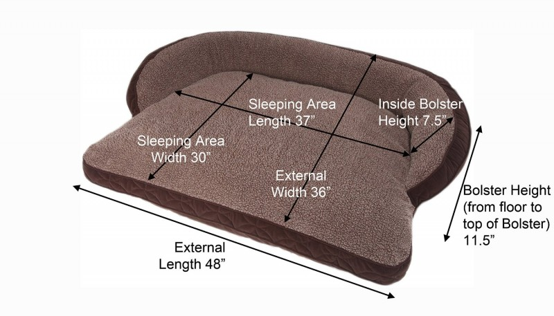 Floppy Ears Design Surround Bolster Dog Bed