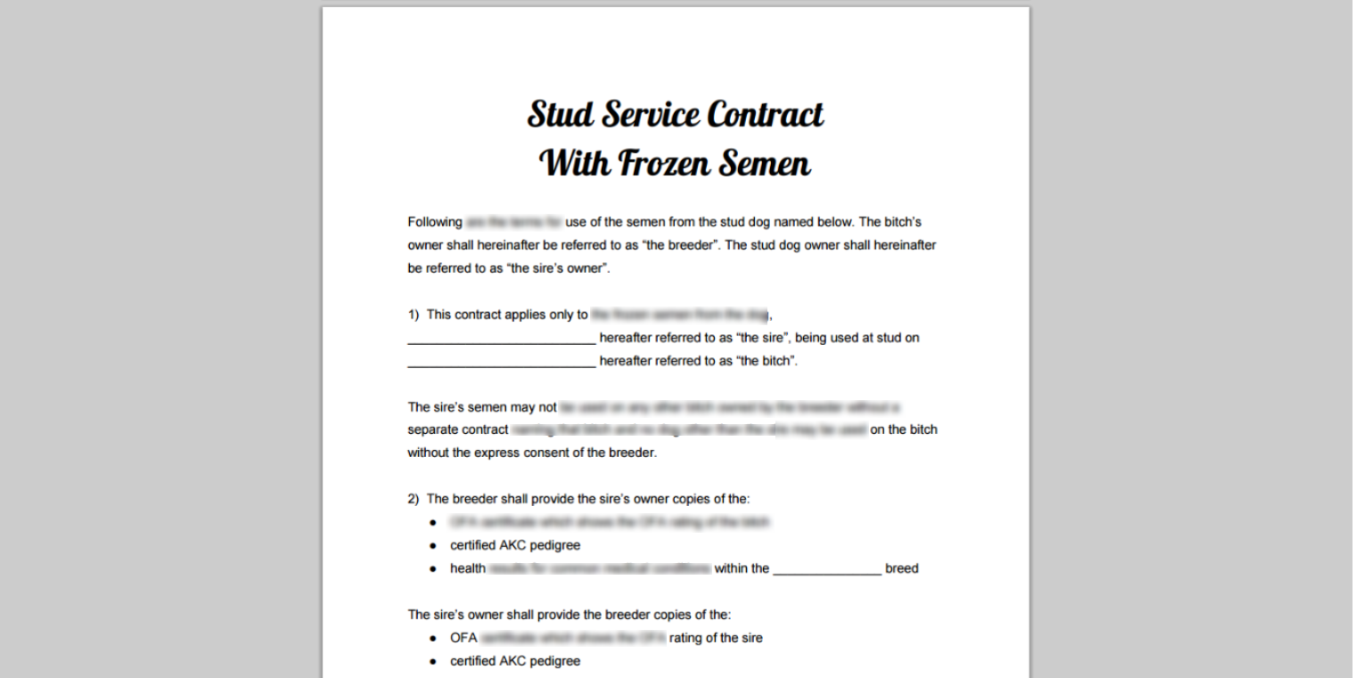 Stud Service, Dog Breeding & Puppy Sale Contract Library
