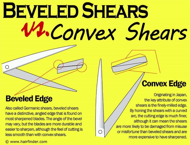 difference between beveled and convex shears