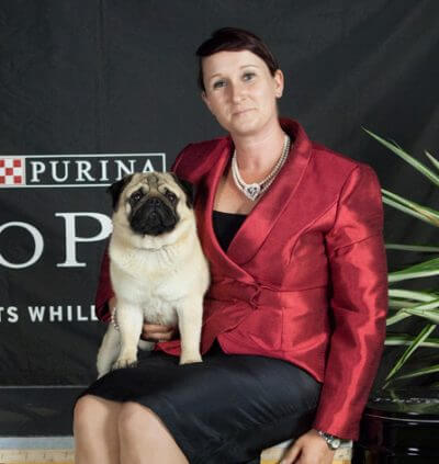 Jenny and Gipper, the first American Grand Champion Pug to come to Australia.