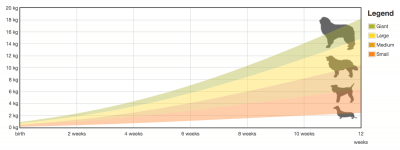 puppy weight chart (growth evolution)