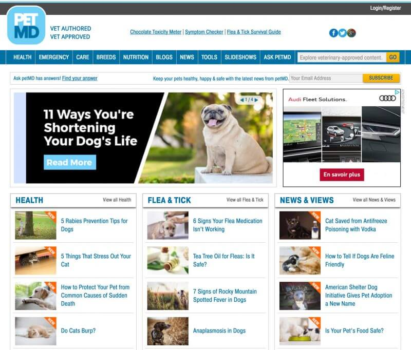 The famous petMD website.