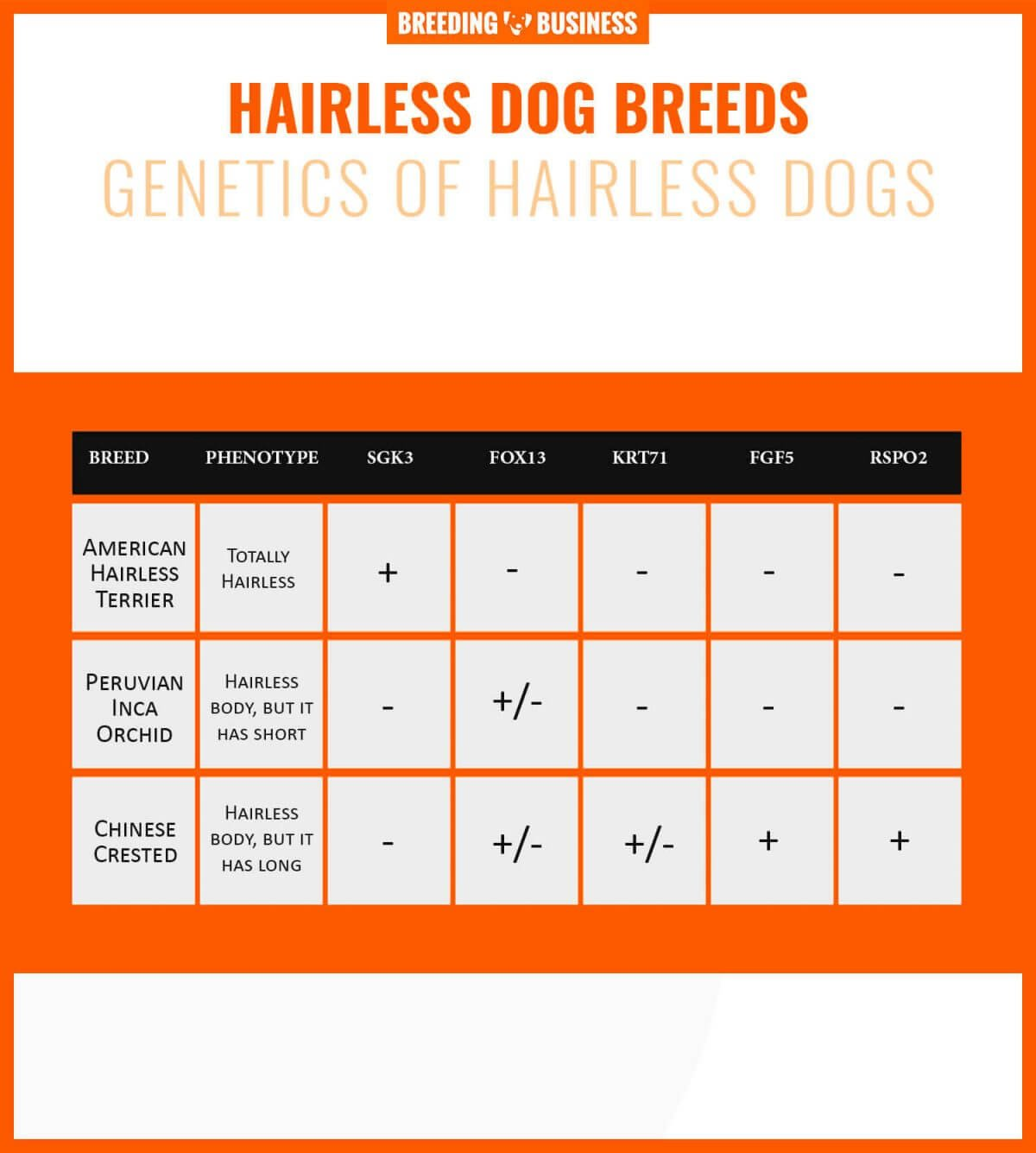 Genetics of hairless dogs.